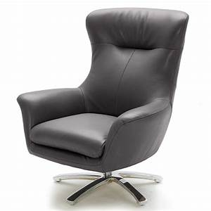 Modern, Gray, Leather, Winston, Swivel, Chair, With, Stainless, Steel, Base