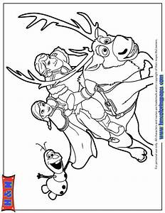 Kristoff Anna And Olaf Riding Sven Coloring Page | H & M ...