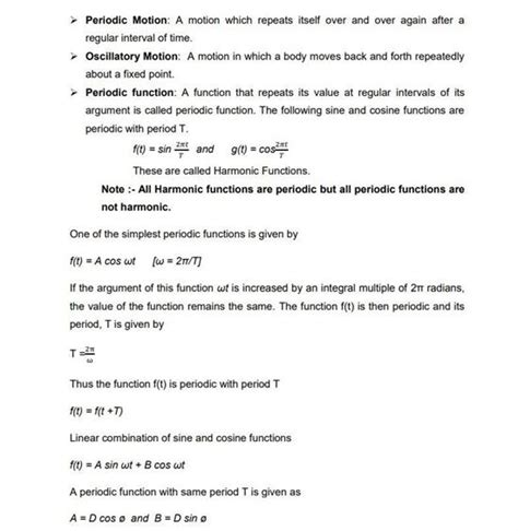 cbse class  physics revision notes chapter  oscillations