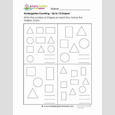Kindergarten Counting Worksheets  Counting Up To 10 Shapes
