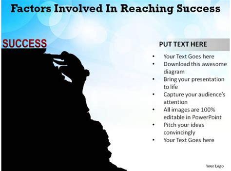 factors involved  reaching success man climbing mountain