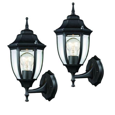 2 black outdoor wall lantern mounted exterior light