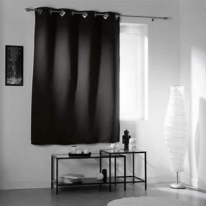 Rideau Occultant Gifi : rideau occultant oeillets carr s uni noir rideau ~ Melissatoandfro.com Idées de Décoration