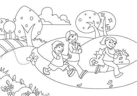 mewarnai gambar anak anak bermain di taman