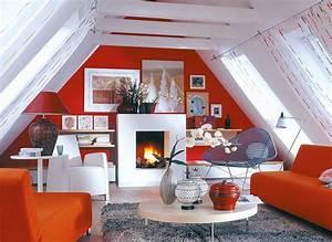 Wohnzimmer Mit Schräge : dachzimmer einrichten ~ Orissabook.com Haus und Dekorationen