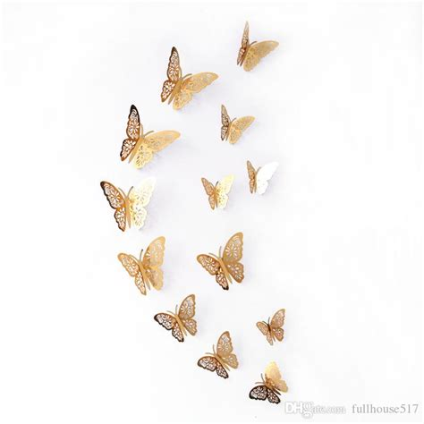 silver gold butterfly decals hollow   butterfly