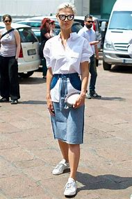 White Pencil Skirt with Denim Shirt