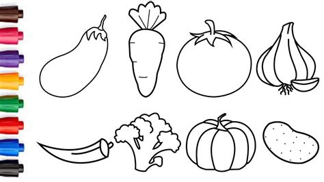 draw vegetables easy drawing  coloring