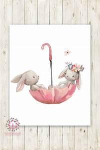 umbrella bunnies bunny rabbit boho nursery wall