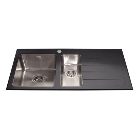kitchen island base kvl02bl glass one and a half bowl sink right