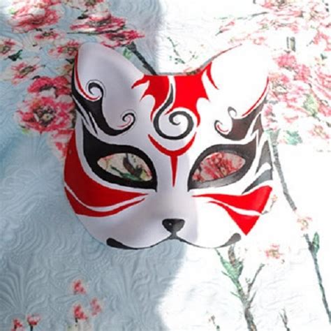 face japanese style hand painted fox mask kitsune