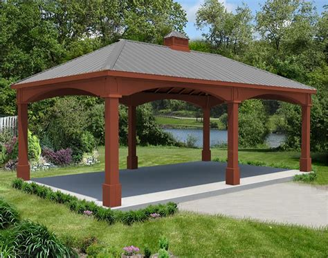 red cedar single roof open rectangle gazebos  metal