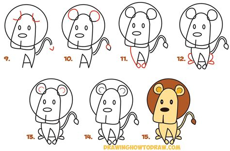 draw cartoon lion   word easy step  step