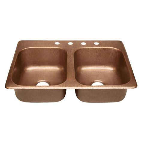 SINKOLOGY Raphael Drop-in Handmade Pure Solid Copper 33 in