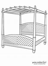 Bed Canopy Coloring Pages Print Easy Printcolorfun sketch template
