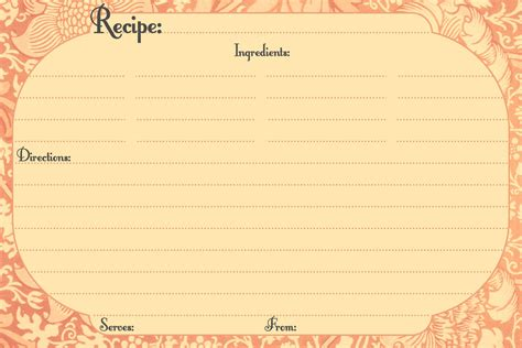 recipe templates  printable recipe card style