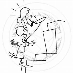 Cartoon Woman Steps Obstacle (Black and White Line Art) by ...
