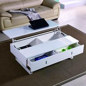 Table Salon Blanc Laqué : table basse relevable laque blanc mutifonction easy achat vente table basse table basse ~ Teatrodelosmanantiales.com Idées de Décoration