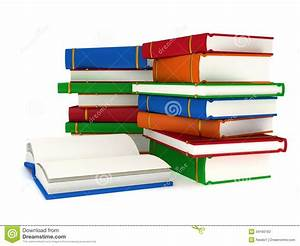 3d Stacks Of Books And Open Book On White Back Stock ...