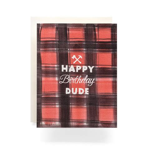 buffalo plaid birthday greeting card antiquaria