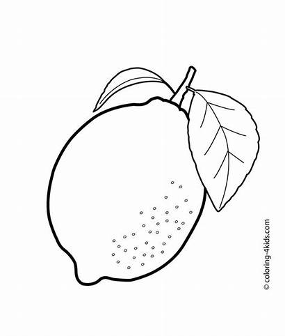 Lemon Coloring Fruit Pages Printable Fruits Crafts