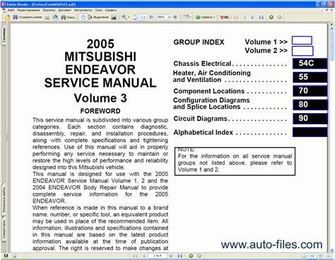 free online car repair manuals download 2004 mitsubishi eclipse spare parts catalogs mitsubishi endeavor 2004 2005 repair manuals download wiring diagram electronic parts catalog