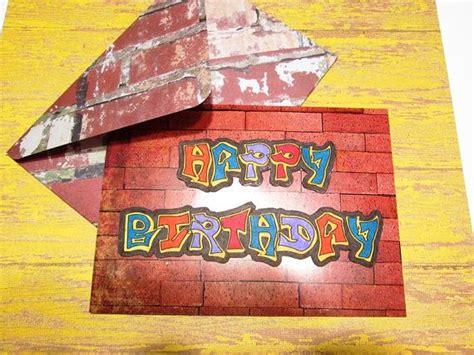 birthday card urban graffiti happy birthday  red brick