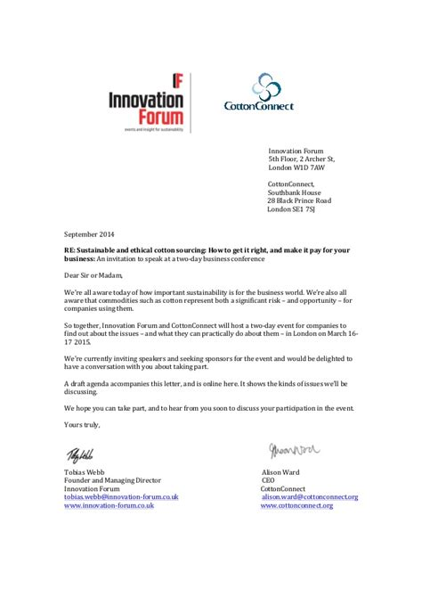invitation letter march    sustainable cotton