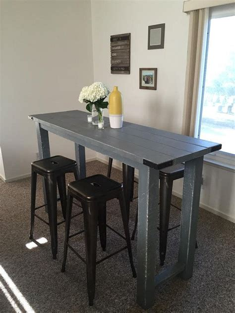 rustic bar height table  reimaginedwoodcraft  etsy