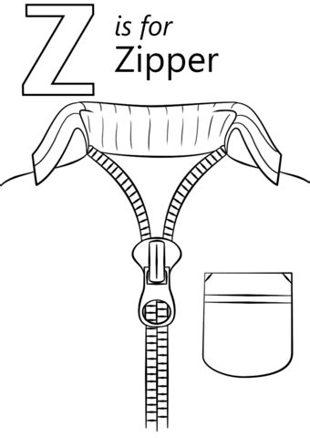 letter    zipper coloring page  printable