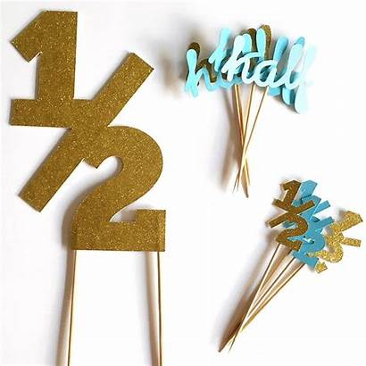 Cake Birthday Topper Half Month Toppers Party