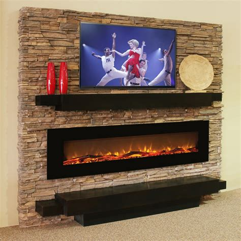 in wall electric fireplace oakland 72 inch log linear wall mounted electric fireplace