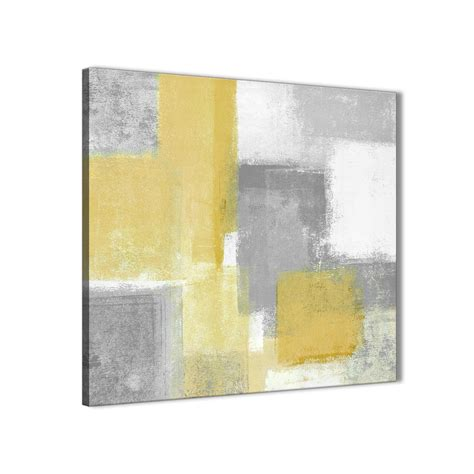 mustard yellow grey kitchen canvas wall art decorations abstract 1s367m 64cm square print