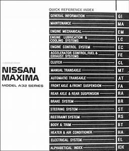 1999 Nissan Maxima Repair Shop Manual Original