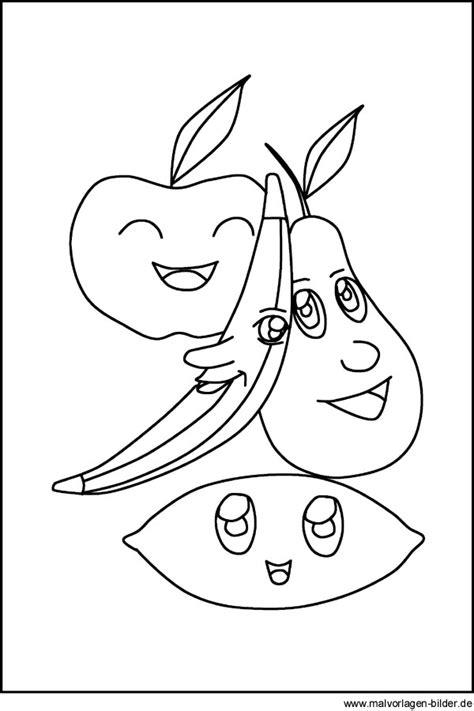 obst apfel birne und banane malvorlage ausmalbild