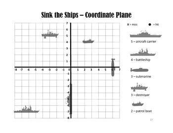 Sink The Ships  A Coordinate Graph Battleship Game By Rebecca Sullivan