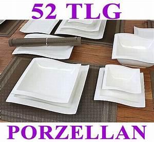 Geschirr Eckig Weiß : porzellan 52 tlg tafelservice eckig teller set geschirr 12 personen ess service ebay ~ Whattoseeinmadrid.com Haus und Dekorationen