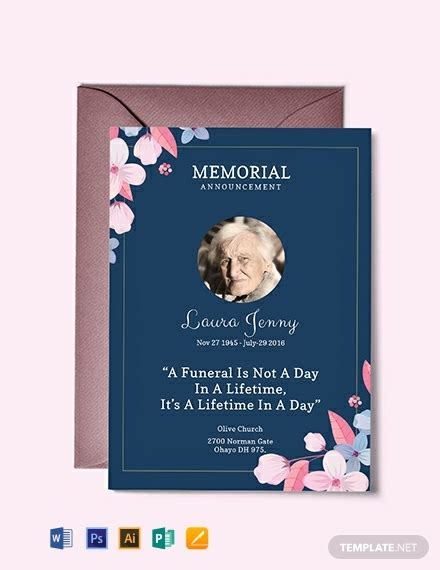 memorial service announcement invitation template