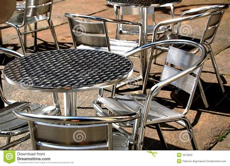 metal chairs and tables stock photos image 3313823