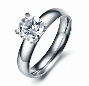 stainless steel womens 7mm round cz engagement wedding With cz wedding rings for women