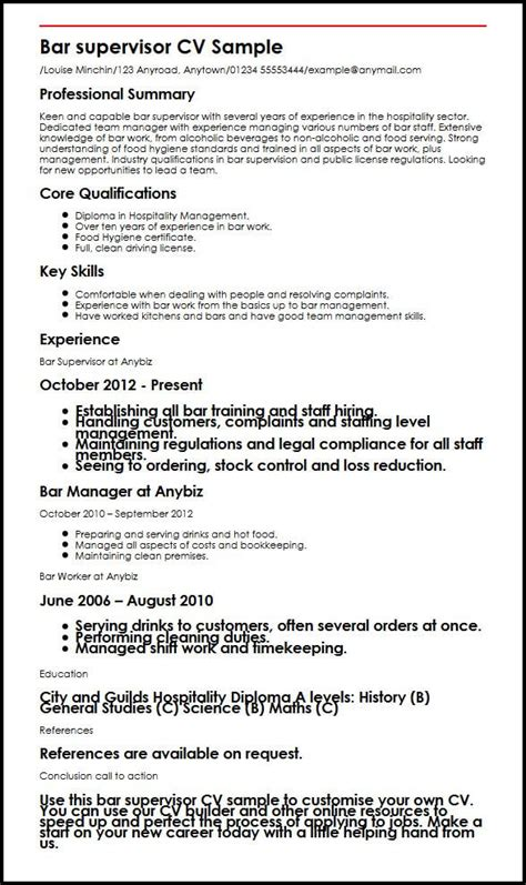 Bar Supervisor Cv Sample  Myperfectcv. Qtp 2 Years Experience Resume. Film Resume Sample. Resume For Nursing Student About To Graduate. Objective For Student Resume. Another Word For Duties On Resume. Call Centre Manager Resume. Sample Of Email Cover Letter With Resume Attached. Building Engineer Resume