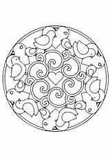 Kaleidoscope Mandala Coloring Bird Cute Hearts Pages Printable Books Last sketch template