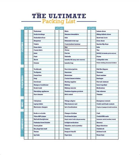 Travel Packing List , Packing List Template With Several