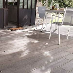 carrelage terrasse bois gris 16 x 100 cm sansio With photo terrasse carrelage gris