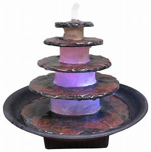 5 Tier Stacked Slate Stone Design Tabletop Fountain