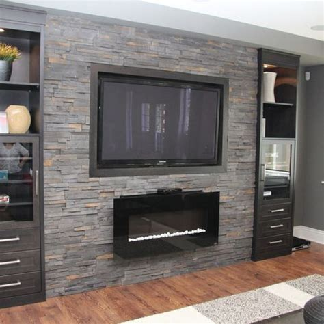 fireplace feature wall designs basement family room design ideas gas fireplace with wall mount tv on grey stone feature wall