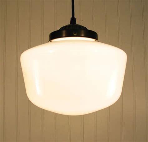 milk glass schoolhouse light pendant home
