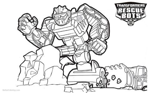 transformers rescue bots coloring pages boulder