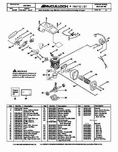 Mcculloch Mac Cat 438 Chainsaw Service Parts List