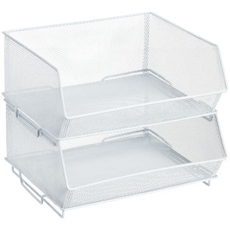 stackable bin storage cabinets white mesh stacking cabinet bin the container store